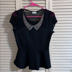 Tops - Black Detailed Collar Top
